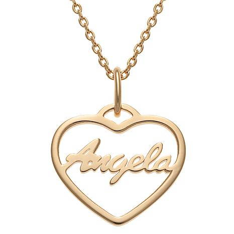 """Sterling Silver Open Heart Name Pendant with 16"""" Chain Necklace"""