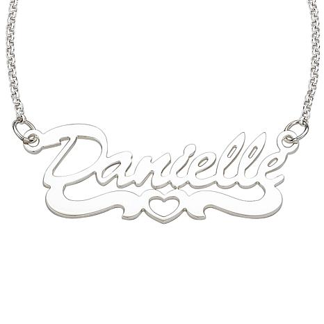 Sterling Silver Open Heart Script Name Necklace