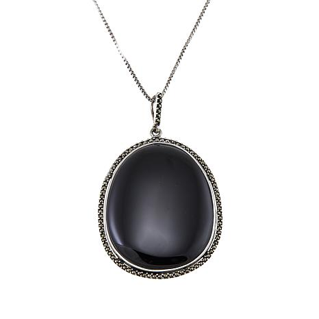 """Sterling Silver Oval Black Onyx and Marcasite Pendant with 18"""" Chain"""
