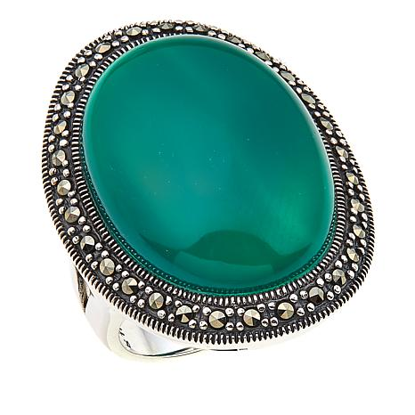 Sterling Silver Oval Green Agate and Marcasite Ring