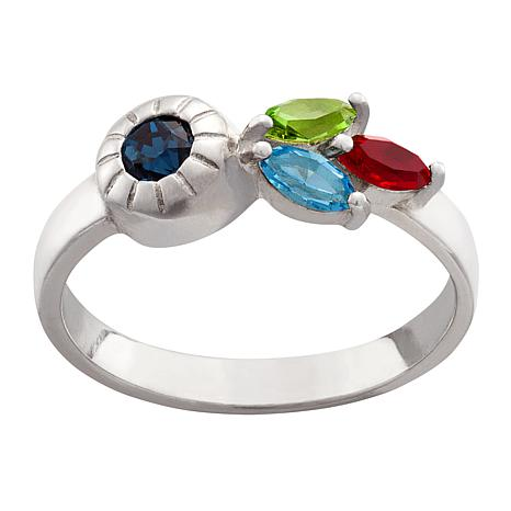 Sterling Silver Round and Marquise Crystal Family Birthstone Ring