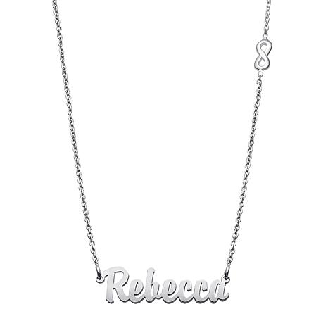 "Sterling Silver  Script Name 19"" Infinity Necklace"