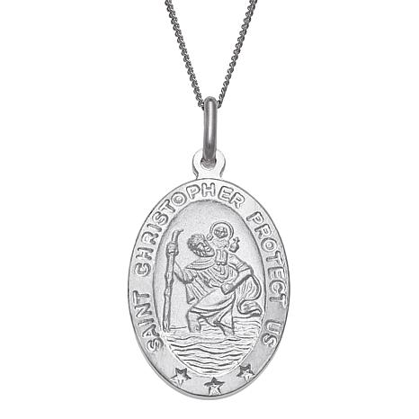 Sterling Silver St. Christopher Personalized Oval Pendant with Chain