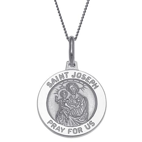Sterling Silver St. Joseph Personalized Round Pendant with Chain