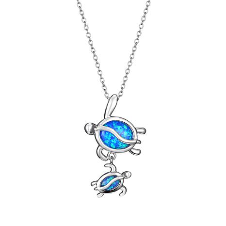 Sterling Silver Synthetic Blue Opal Turtle Pendant Necklace