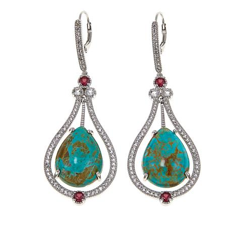 Sterling Silver Turquoise, Ruby and White Topaz Drop Earrings