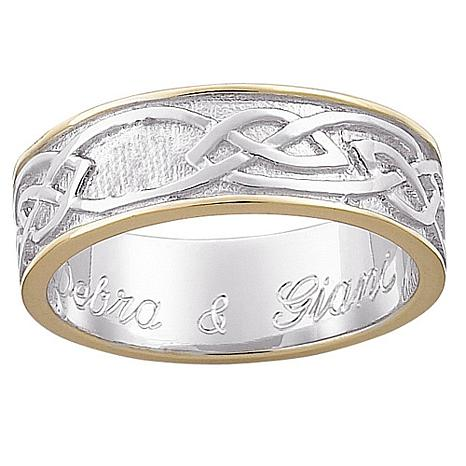 Sterling Silver Two-Tone Engraved Celtic Wedding Band