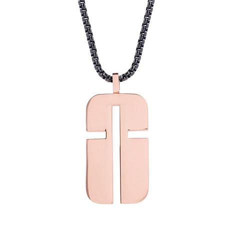 "Steve Madden Men's Rosetone Abstract Cross Dog Tag 28"" Necklace"