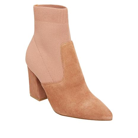 Steve Madden Remy Suede and Knit Fabric Sock Bootie