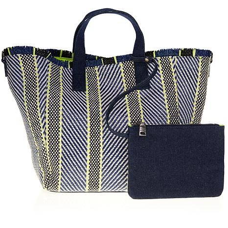 Steve Madden Rumi Mixed Woven Tote with Pouch