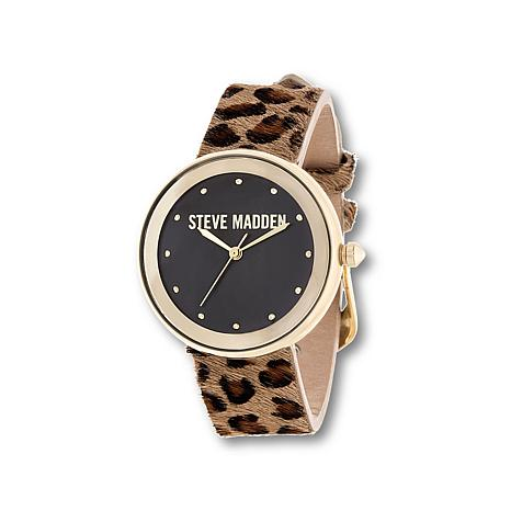Steve Madden Women's Leopard Print Leather Strap Watch