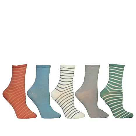Steven by Steve Madden 5-pack Striped and Solid Crew Socks