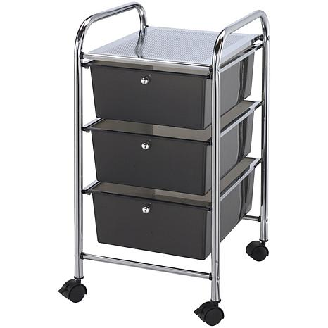 Storage Cart W/3 Drawers   13X26X45.5 Smoke