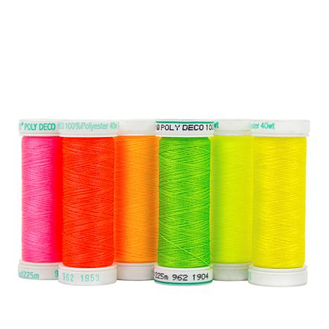 Sulky 40wt Poly Deco Thread 6-pack - Neon