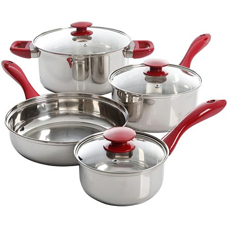 Sunbeam Crawford Teal 7-piece Cookware Set with Red Handle
