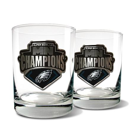 Super Bowl LII Champs Eagles Set of 2 Rocks Glasses - 15 oz.