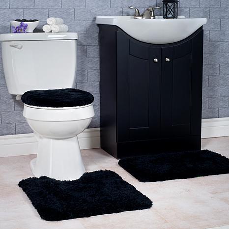 super plush 3 piece non slip bath mat rug set black