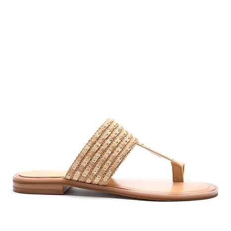 Tahari Gabby Studded Leather Toe-Loop Sandal