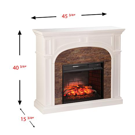 Tanaya Faux Stone Infrared Electric Fireplace - White with ...