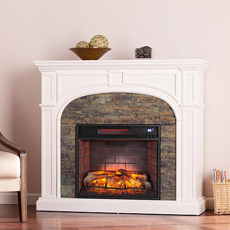 Shop Tanaya Faux Stone Infrared Electric Fireplace - White with Simulated Montelena Stone 8225141