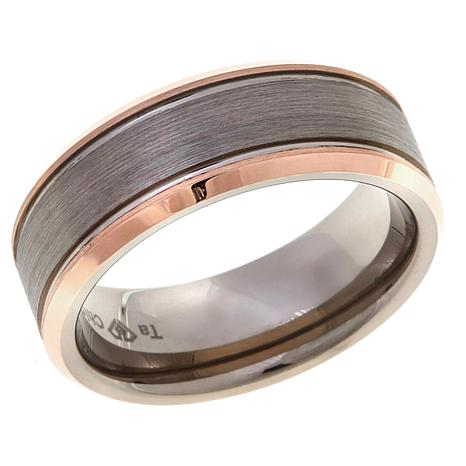 Tantalum Rosetone Gray Brushed 8mm Wedding Band Ring