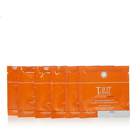 TanTowel® Dark Full-Body 6-pack of Self-Tanning Towelettes