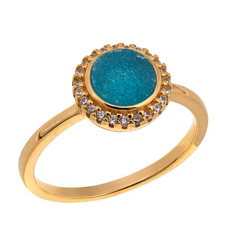 Technibond®  Blue Drusy and CZ Ring