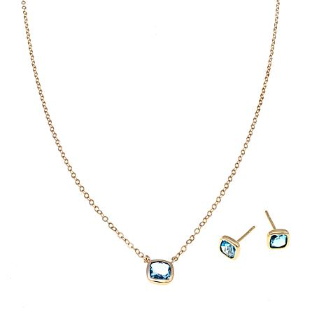 Technibond® Blue Topaz Stud Earrings & Necklace Set