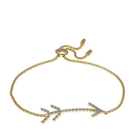 Technibond® Diamond-Accented Adjustable Arrow Bracelet