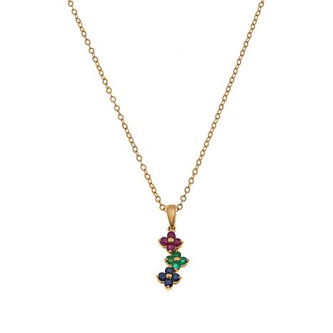 "Technibond® Multigem Floral Pendant with 18"" Chain"