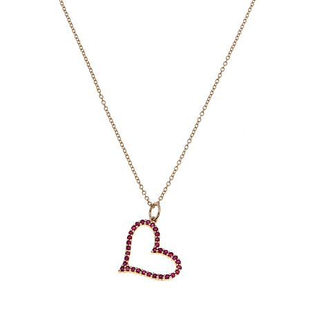 "Technibond® Ruby Heart Pendant with 18"" Chain"