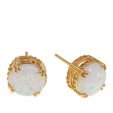 Technibond® Simulated Opal and White Topaz Stud Earrings