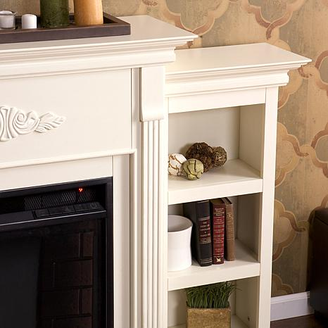 Tennyson Electric Fireplace with Bookcases - Ivory - 7630119 | HSN