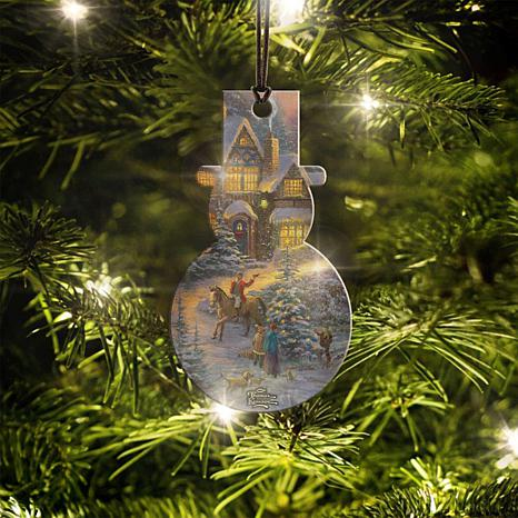 Thomas Kinkade Spirit of Christmas Snowman-Shaped Hanging Acrylic