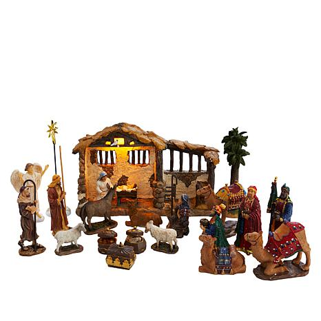 Three Kings Handpainted 23-piece Nativity Set