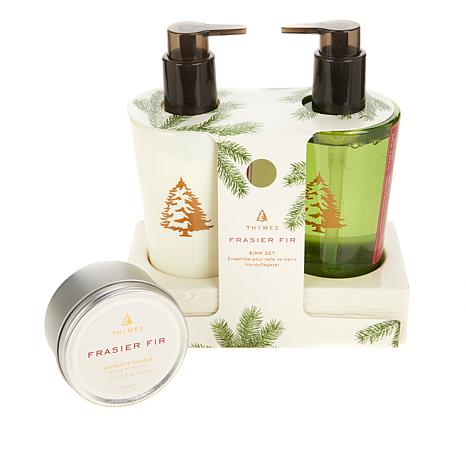 Thymes Frasier Fir Sink Set and Travel Candle