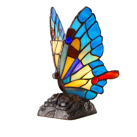 Tiffany-Style Blue Butterfly Art Glass Accent Lamp