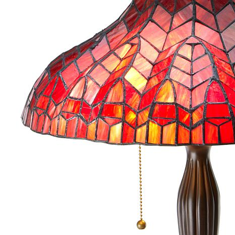 Tiffany Style Glowing True Red Art Glass Table Lamp 8778512 Hsn