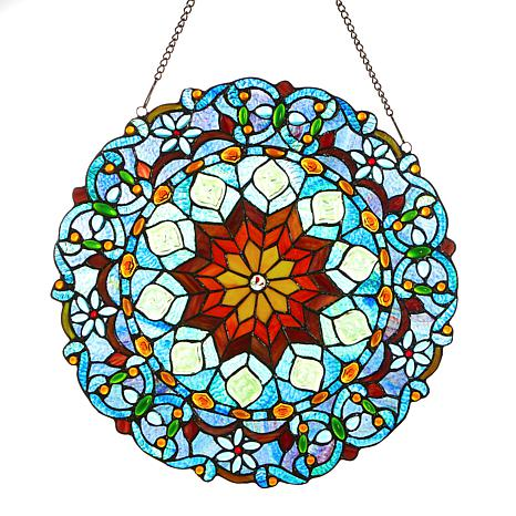 Tiffany Style Majestic Marble Stained Gl Window Panel