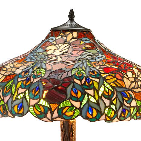 Tiffany Style Peacock Rose Double Lit Table Lamp 8778519 Hsn