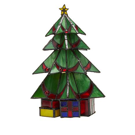 Christmas Tree.Tiffany Style Stained Glass Christmas Tree 10 Accent Lamp