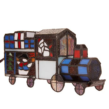 Tiffany-Style Stained Glass Toy Train Accent Lamp