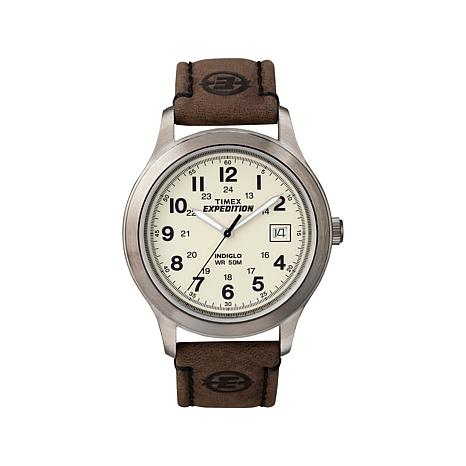 Timex Expedition Gunmetal-Tone Case Leather Strap Watch