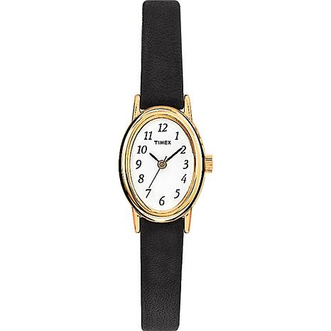 Timex Goldtone Oval Case Black Leather Strap Watch