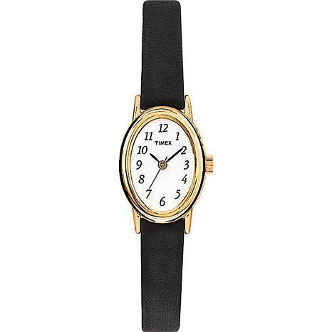 Timex Goldtone Oval Case Black Leather Strap Watch