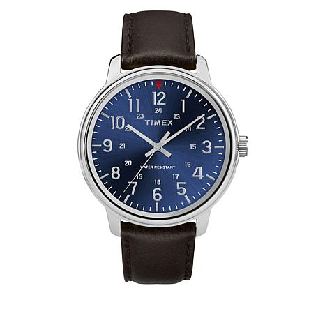 Timex Men's Basics Blue Dial Brown Leather Strap Watch