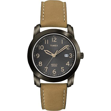 Timex Men's Black Sunray Dial Tan Leather Strap Watch