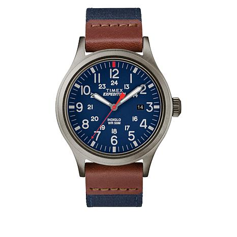 Timex Men's Expedition Scout Navy Blue Nylon and Leather Strap Watch