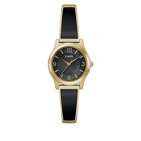 f84626dbce224 Timex Women's Goldtone Stainless Steel Black Expansion Band Watch - 8992669  | HSN