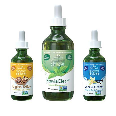 Tony Little Liquid Sweetener by Sweet Leaf 3-pack of Flavors